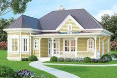 <ul><li>With its slender footprint, this country/Victorian home with an open plan works well on a narrow lot, as in-fill housing or as a vacation home in a resort community. </li><li>Covered porches in both front and back offer outdoor living space. </li><li>The formal dining room is accessed from either the entry foyer or the kitchen with its pantry closet. An angled eating bar divides the kitchen from the bayed morning room and the spacious...