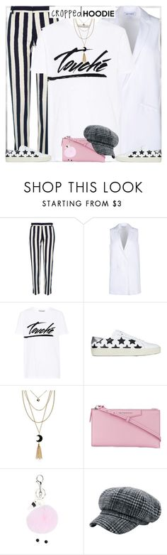 """""""Style's Tip:How to wear Striped Pant?"""" by marymary91 ❤ liked on Polyvore featuring River Island, Elizabeth and James, Être Cécile, Yves Saint Laurent and Givenchy"""
