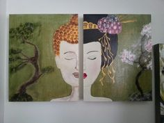 Bouddha - geisha - acrylique - diptyque