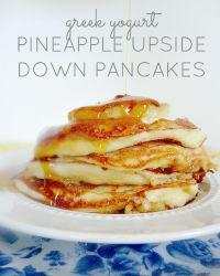 Greek Yogurt Pineapple Upside Down Pancakes: These protein-packed tropical pancakes will keep you full all morning. #pancakes #greekyogurt #pineapple