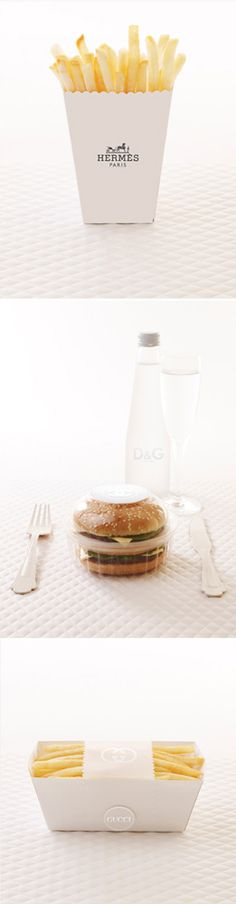 Amy Moss designed packaging that incorporates familiar high-end fashion branding and worked with photographer Marija Ivkovic. eatdrinkchic.com