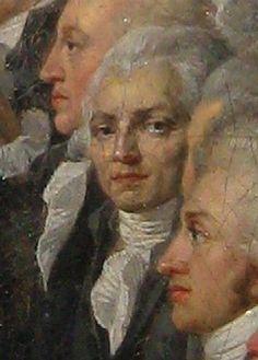 """Да-да! именно так - существуют масштабные многофигурные живописные композиции, в которых весьма тщательно прописаны лица персонажей. Таким полотном должна была стать Давидовская """"Клятва в зале для игры в мяч"""", но она осталась незавершенной, и среди портретов-эскизов к ней - увы! - нет портрета…"""