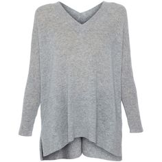 Repeat Cashmere Grey V-neck Cashmere Sweater ($350) ❤ liked on Polyvore featuring tops, sweaters, grey, gray sweater, oversized sweaters, ribbed v neck sweater, long oversized sweaters and gray v neck sweater
