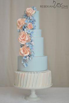 Peach and Blue Wedding Cake by Rebekah Naomi Cake Design - http://cakesdecor.com/cakes/237228-peach-and-blue-wedding-cake