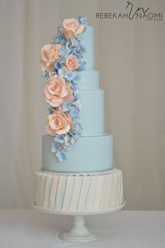 Peach and Blue Wedding Cake by Rebekah Naomi Cake Design - http://cakesdecor.com/cakes/237228-peach-and-blue-wedding-cake