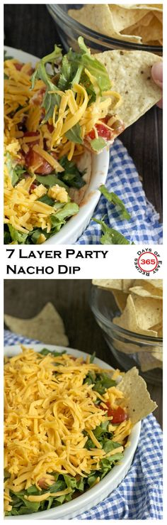 This 7 layer nacho dip is the ultimate easy party appetizer: spring, summer, fall or winter. Layers of cream cheese, salsa, cheese and veggies. It's sure to be a hit | 365 Days of Easy Recipes