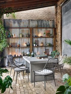 arman outdoor dining chair in vintage metal by bd studio Grey Dining Tables, Outdoor Dining Chairs, Outdoor Living, Adirondack Chairs, Adirondack Furniture, Style At Home, Interior Exterior, Interior Design, Rustic Outdoor Decor