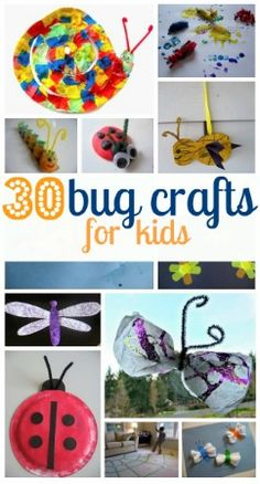 30 great bug crafts for kids - oh, just perfect with Incredible Insects! Lots of fun, sometimes messy, projects for children. Great for keeping them entertained during summer vacation and winter holidays, or for a kid craft station at a party. Craft Activities For Kids, Preschool Crafts, Projects For Kids, Craft Projects, Crafts For Kids, Craft Ideas, Fun Ideas, Bug Activities, Spring Activities