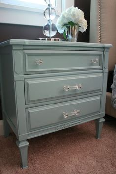 always love a painted furniture DIY project ~ taking an old wood-stained small chest of drawers and turning it into this heavenly pale pearly turquoise bedside table with new wonderful acrylic hardware Refurbished Furniture, Paint Furniture, Repurposed Furniture, Furniture Projects, Furniture Makeover, Bedroom Furniture, Furniture Design, Bedroom Decor, Bedroom Night