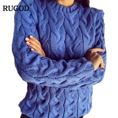 RUGOD Solid Women Sweaters And Pullovers Loose Knitted Pullover Female Tops Spring&Autumn Long Sleeve Jumper Sweater pull femme