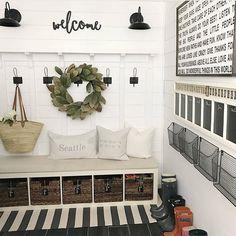 Leanna (@clareandgracedesigns) • Instagram photos and videos Coastal Farmhouse, Modern Farmhouse Decor, Landry Room, Mudroom, Take Me Home, Home Renovation, Entry Hallway, Laundry Area, Laundry Room Design