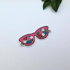 Pink Sunglasses Patch Iron on Patch Rose colored glasses Patch Embroidered Patch