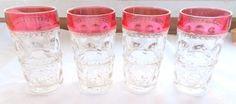 4 Kings Crown Ruby Flash Ice Tea Glass Thumbprint Tumblers Red