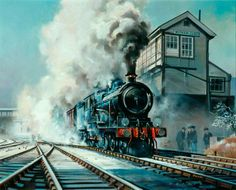 Great Eastern Railway 4–6–0 Express Locomotive Passing Witham Junction by James Wilson Petrie