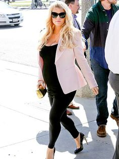 Jessica Simpson rocked her maternity tank, maternity leggings, and a great blazer! Check out this super comfy maternity tank from Bella Band Maternity for a similar look: http://tummystyle.com/products/Bella-Band-Essentials-Everyday-Cami~1790.html