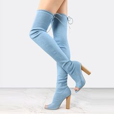 Shoespie Light Blue Chunky Heel Thigh High Denim Boots