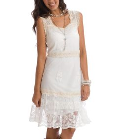 Vanilla Christy Lace-Accent Sleeveless Dress - Women | Daily deals for moms, babies and kids