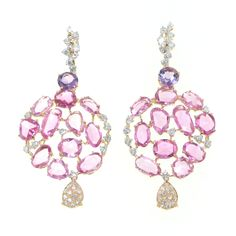 Casato Roma Gioielli: Rose Sapphire, Amethyst and Brilliants Earrings