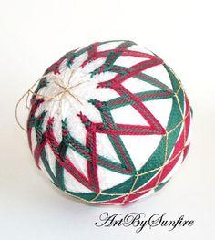 Christmas Red and Green Japanese Temari Ball by ArtBySunfire 620711 | artbysunfire - Needlecraft on ArtFire