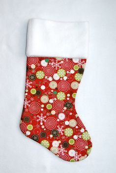 christmas stocking.   Christmas Dots and Snowflakes Stocking by cyndilooboutique on Etsy, $20.00