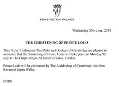 The announcement was circulated by Kensington Palace today, confirmed Prince Louis will be christened by Rev Justin Welby