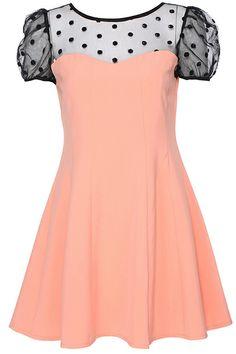 ROMWE   ROMWE Dual-tone Orange Short-sleeved Dress, The Latest Street Fashion
