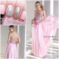 """""""#prom #promdresses #pageant #pageantdresses #formal #pink #sparkle #prom2015 #prom2k15 #nails #nailart #naildesign #alyce #alyceparis #alyceprom"""""""