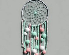 Mint dream catcher Nursery decor wall hanging Baby girl room decor Kids dreamcatcher with pom poms Baby shower gift for baby girl Dream Catcher For Kids, Dream Catcher Nursery, Dream Catchers, Baby Girl Room Decor, Nursery Decor, Boho Dekor, Baby Christmas Gifts, Baby Girl Gifts, Bohemian Decor