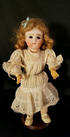Antique German Bisque Head Doll Closed Mouth Composition Body Small Nick On Neck