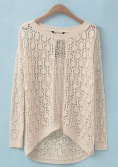 Beige Long Sleeve Hollow Embroidered Sweater - Sheinside.com
