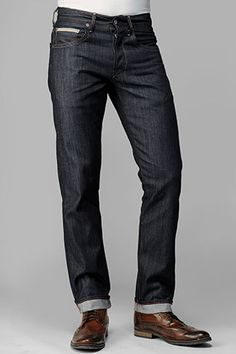 The Straight in Raw Indigo Selvage with Seamed Back Pockets.    I dig the jeans, but what I really like are the boots. To Boot New York? Lawrence?
