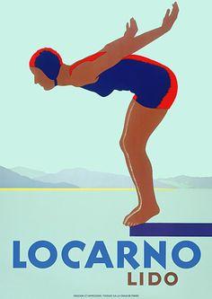 Locarno Lido, Switzerland by Empayataz   Vintage Travel Beach Poster art Deco #essenzadiriviera www.varaldocosmetica.it | olive oil cosmetics