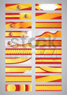 collection of spain flag banners Stock Vector