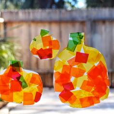 Kids Crafts - DIY Thanksgiving Harvest Sun Catchers