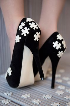 Cream Jigsaw Piece High Heel Shoes Hand Painted by THEOMGSHOES, £70.00