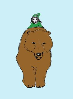 Girl with bear - Bea -Dietz Collage, My Friend, Friends, Scooby Doo, Illustration, Bear, Fictional Characters, Sketches, Painting Art