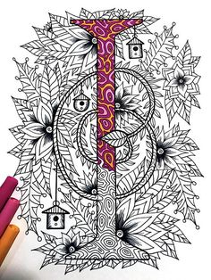 Letter I Zentangle  Inspired by the font Penelope