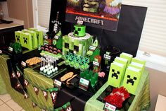 Minecraft boy birthday party dessert table!  See more party planning ideas at CatchMyParty.com!