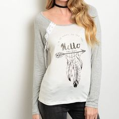 Gray/Ivory Top Gray ivory top. 93% rayon 2% spandex. Made in USA. Available sizes: small, medium, & large Tops Tees - Long Sleeve