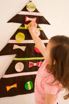 Christmas tree with removable felt ornaments