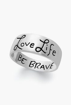 Unwritten Love Life, Be Brave Engraved Ring Sterling Silver #sponsored