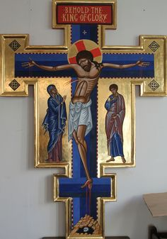 Italo Byzantine Cross for St Augustine's Church Tooting Sign Of The Cross, The Cross Of Christ, Christ The King, Religious Images, Religious Icons, Religious Art, Byzantine Icons, Byzantine Art, Church Icon