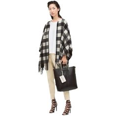 Zara Pre-owned Zara Plaid Check Coat Jacket & Fringed Nwt New Chic... ($129) ❤ liked on Polyvore featuring outerwear, black, black cape, fringed cape, zara cape, plaid cape and poncho cape