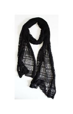 Black Lace Scarf , Black Knitted Lace Stole, Knit Summer Lace Shawl, Stole Wrap