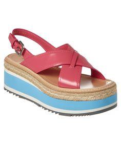 PRADA | Prada Leather Slingback Platform Espadrille #Shoes #Sandals #PRADA