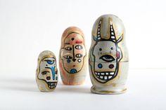 "Matte matryoshka ""Masks."" It is made on motives of masks of the theater ""能"". by UlianaPucheglazova on Etsy"