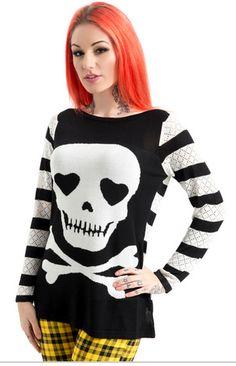 Gothic Punk Emo Rockabilly Spider Web Skeleton Cameo Back Hoodie BANNED Apparel