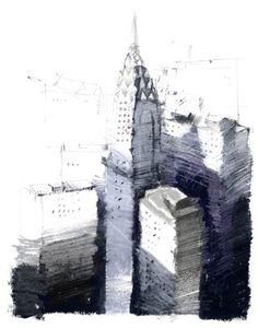 Paul Balmer : Chrysler Oil pastel and pencil Urban Landscape, Landscape Art, Landscape Drawings, City Sketch, Urban Sketchers, City Buildings, Gravure, Urban Art, Art And Architecture
