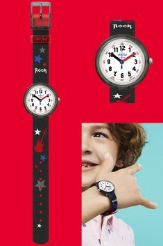 With its pitch-black printed textile watch strap, kids wearing LET'S ROCK (ZFPNP051) will have the gift of music and learn the time with electrifying style. The bold design of this Swiss-made accessory dims the lights and puts stars and guitars center stage. Like most of our range of cool children's watches, it's also water and shock resistant, so its wearer will always be ready to rock! Children's Watches, Center Stage, Textile Prints, Black Print, Pitch, Guitars, Range, Let It Be, Lights