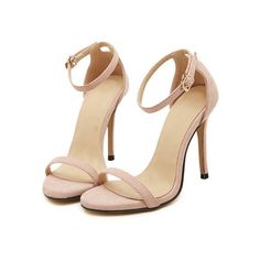 Nude Stiletto High Heel Ankle Strap Sandals (2.140 RUB) ❤ liked on Polyvore featuring shoes, sandals, heels, romwe, heeled sandals, high heel stilettos, stilettos shoes, ankle strap sandals and nude shoes